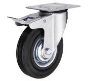 Поворотное колесо с тормозом диаметром 75 мм из стандартной черной резины