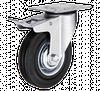 Поворотное колесо с тормозом диаметром 100 мм из стандартной черной резины