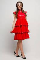 Ошатне плаття Попурі з еко-шкірою 44-50 розміру червоне, фото 1
