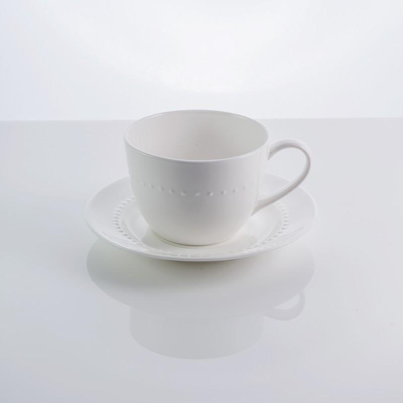 """Чашка с блюдцем фарфоровая белая """"Blob"""" 250 мл фарфор"""