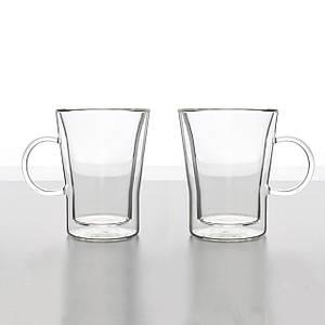 Комплект чашек с двойным дном для кофе и чая 2 шт 330 мл стеклянные чашки набор чашка двойные стенки