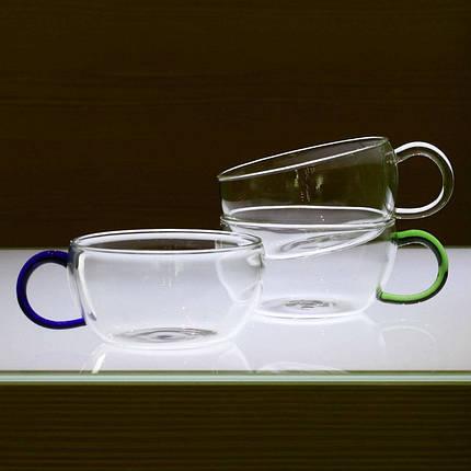 Комплект чайных чашек 200 мл 2 ед стеклянные чашки набор чашка стекло, фото 2