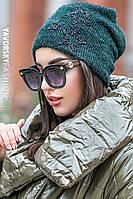Шапка Yavorsky женская красивая со стразами травка на флисе разные цвета Shy110, фото 1