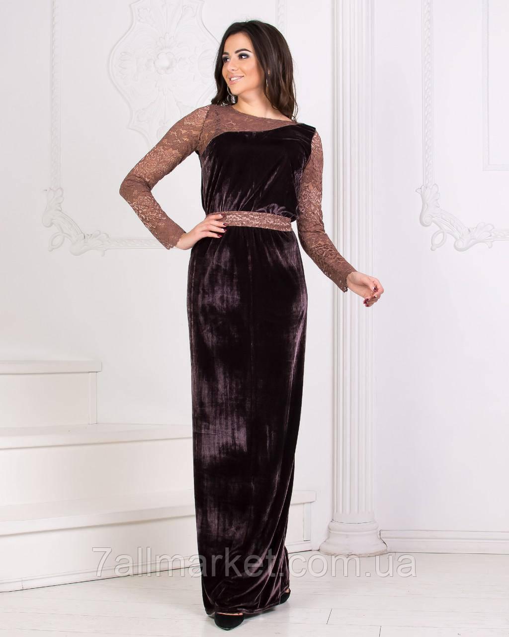 e0cb84664c4 Платье женское бархатное с гипюром
