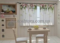 "Фото штора ""Ламбрекены из цветов. Розочки для кухни"" 150 х 250 см"