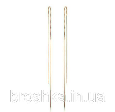 Длинные позолоченные серьги протяжки ювелирная бижутерия, фото 2