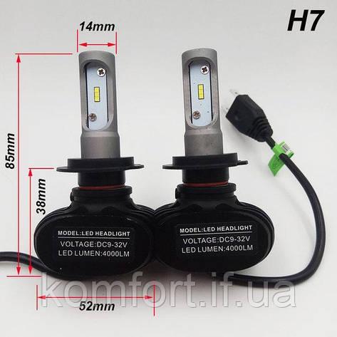 Светодиодные LED лампы для фар автомобиля S1-H7, фото 2