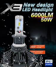 Светодиодные LED лампы для фар автомобиля X3-H4, фото 3
