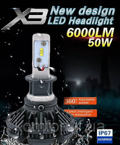 Светодиодные LED лампы для фар автомобиля X3-H7, фото 2