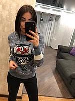 """Женский шерстяной свитер без горла """"Сова"""", джинс. Турция., фото 1"""