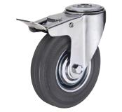 Поворотное колесо с тормозом диаметром 75 мм из стандартной черной резины с отверстием М10