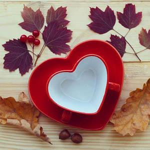Чашка с блюдцем Сердце 150 мл красная керамическая чашка на двоих в форме сердца керамика две ручки
