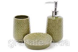 Аксессуары для ванной: дозатор 375мл, стакан 350мл для зубных щеток, мыльница, цвет - зеленый