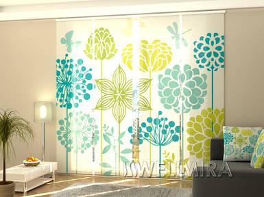 """Панельная фото штора """"Нарисованные цветы"""" 240 х 240 см"""