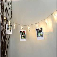 Гирлянда LED 10 с прищепками  декора теплый белый