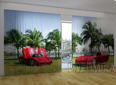 """Панорамные фотошторы """"Красные Ferrari"""" 270 х 500 см фото шторы панорамні штори"""