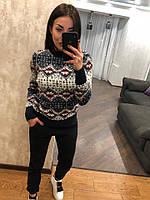 Женский шерстяной свитер без горла с зимним рисунком, синий. Турция., фото 1