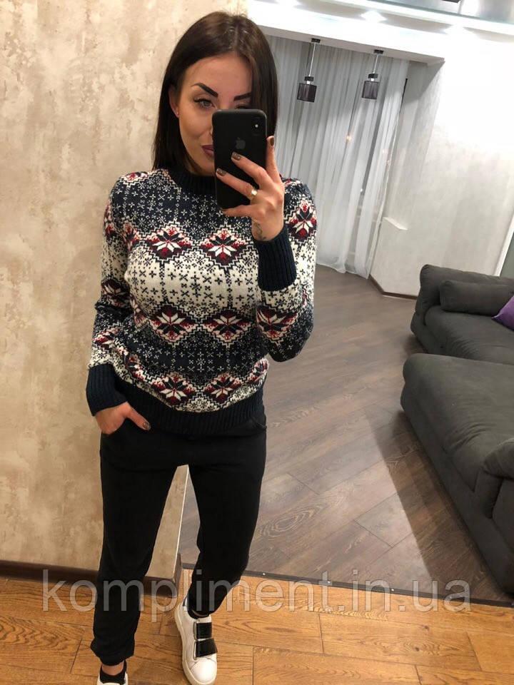 Женский шерстяной свитер без горла с зимним рисунком, синий. Турция.