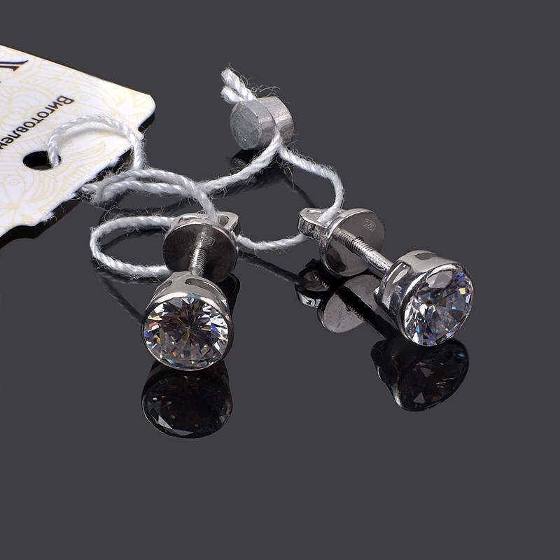 Серебряные серьги пусеты с цирконием