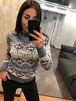 Женский шерстяной свитер без горла с зимним рисунком, джинс. Турция., фото 1