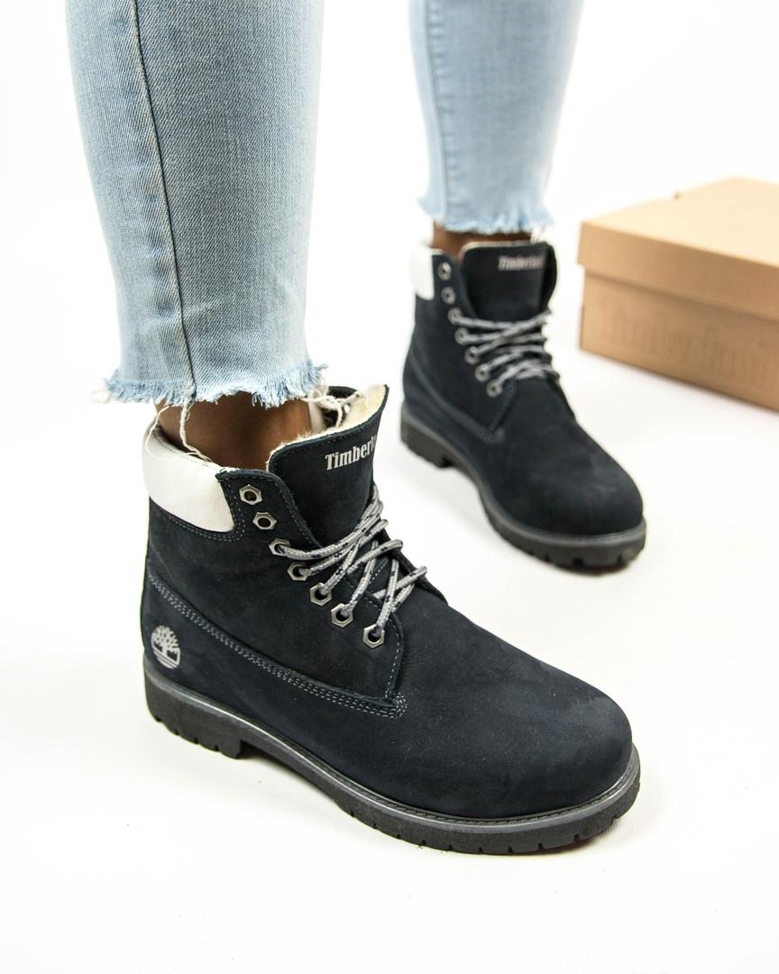 5cab49d398b4 Женские ботинки на натуральном меху Timberland темно-синие топ реплика