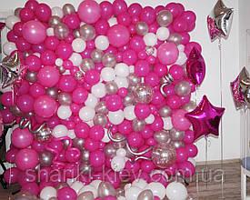 Стена Фотозона из шаров для фотосессии Фуксия Розовый