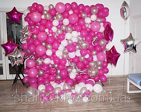 Стена Фотозона из шаров для фотосессии Фуксия Розовый, фото 2