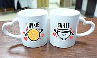 """Парные кружки """"Кофе и печенька"""", ручка сердце"""