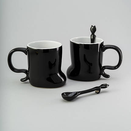 Набор чашек с ложкой 2 ед, 300 мл черные керамические чашки комплект чашка черная оригинальная, фото 2