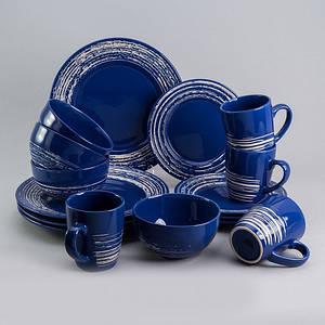 """Набор посуды """"Брестоль"""" синий 16 ед на 4 персоны столовый сервиз столовая посуда комплект"""