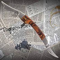 Барный складной нож официанта (нарзанник) №049 из стали с пластиковой рукоятью под дерево.