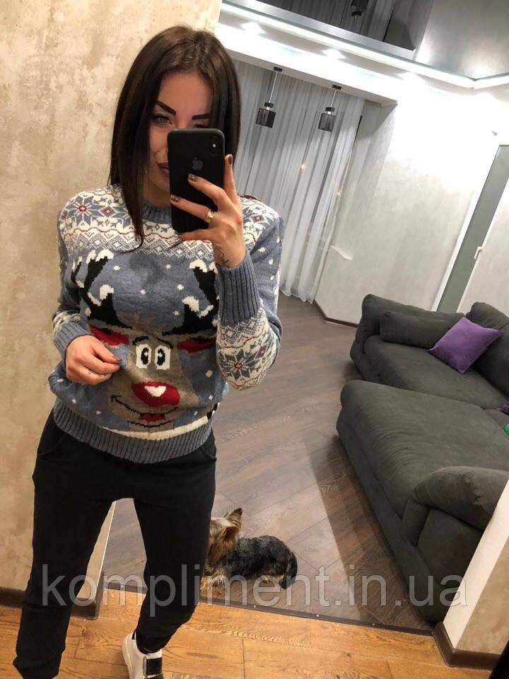 Женский шерстяной свитер без горла с веселым оленем,голубой. Турция.