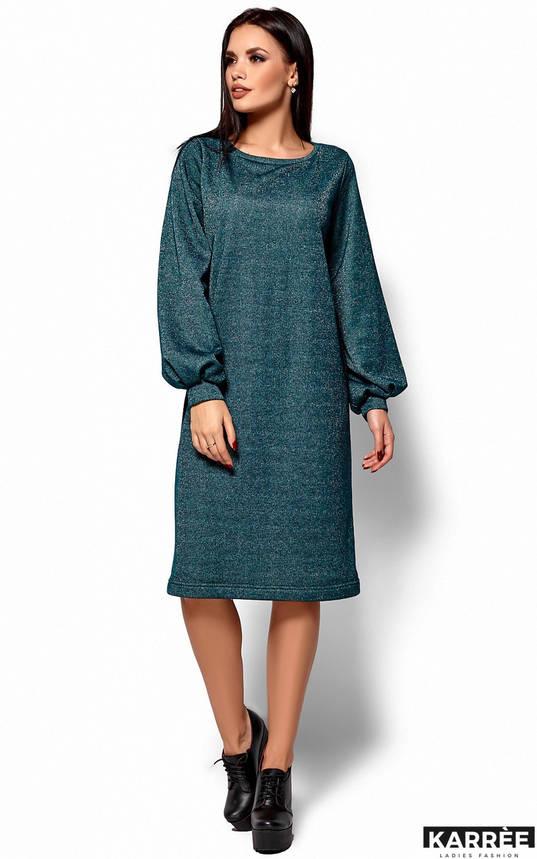 Теплое трикотажное платье оверсайз изумрудное, фото 2