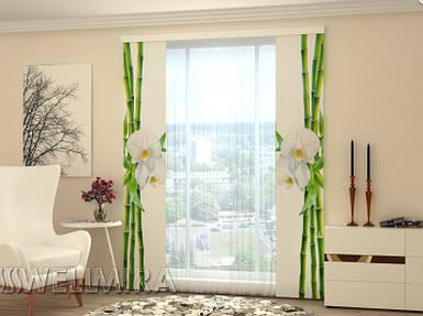 """Панельная фото штора """"Бамбук и белая орхидея"""" 80 х 225 см"""