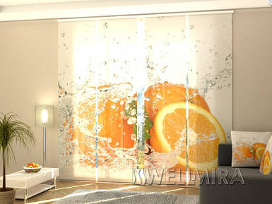 """Панельные фото шторы """"Сочный оранжевый"""" 240 х 240 см"""