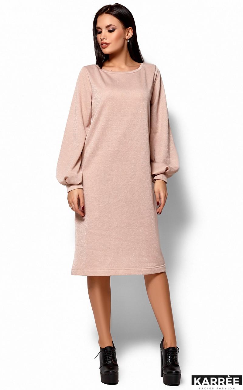 Теплое трикотажное платье оверсайз бежевое