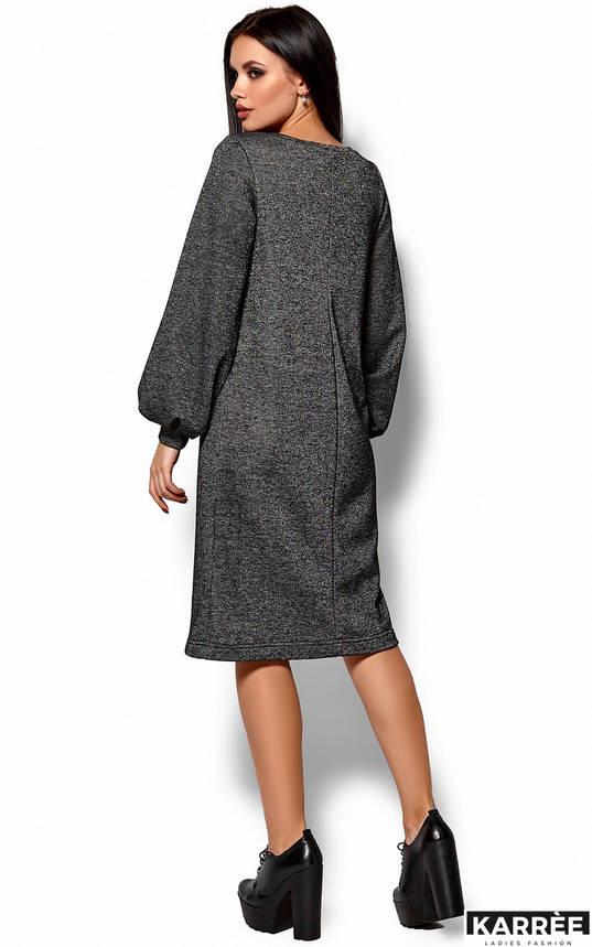 Теплое трикотажное платье оверсайз темно-серое, фото 2
