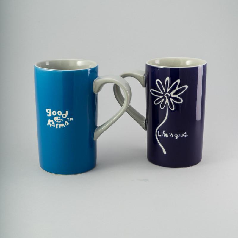 """Набор чашек """"Life is good"""" 2 шт 440 мл керамические чашки комплект чашка с надписью керамика"""