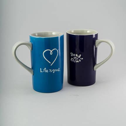 """Набор чашек """"Life is good"""" 2 шт 440 мл керамические чашки комплект чашка с надписью керамика, фото 2"""