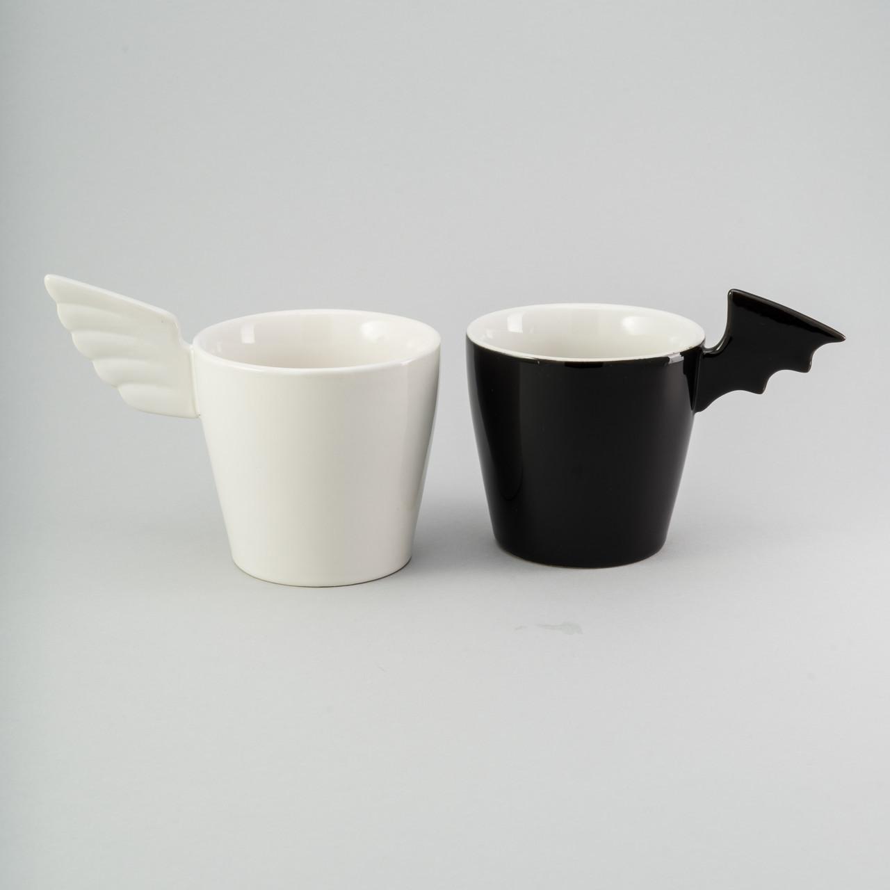 """Набор чашек 2 ед """"black & white"""" 200 мл керамические чашки комплект чашка оригинальная белая черная"""