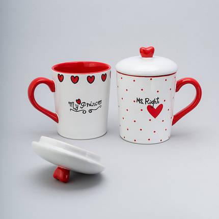 """Набор чашек с крышкой 2 ед """"princess"""" 400 мл керамические чашки с крышкой комплект чашек чашка, фото 2"""
