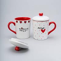 """Набор чашек с крышкой 2 ед """"princess"""" 400 мл керамические чашки с крышкой комплект чашек"""
