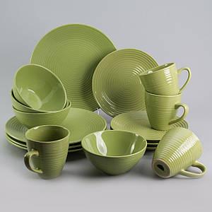 """Набор посуды """"Арбуз"""" зеленый 16 ед. на 4 персоны столовый сервиз столовая посуда комплект"""