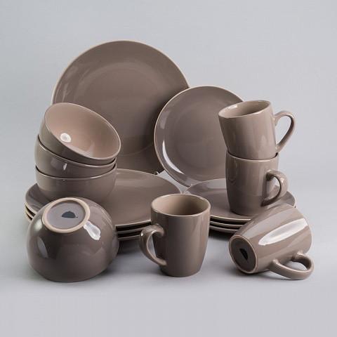 """Набор посуды """"Мерида"""" кофейный цвет 16 ед. на 4 персоны столовый сервиз столовая посуда комплект"""