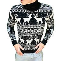 Зимний свитер мужской с оленями черный с белым. Живое фото 3d5287b7d2ca0