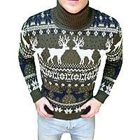 Мужской зимний свитер с оленями хаки. Живое фото f81f7fcee74dd