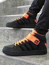Мужские кроссовки  реплика ADIDAS цвет черный с рыжим