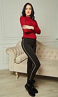 Модные теплые женские лосины на меху с высокой посадкой с лампасами 42-50 размера черные