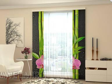 """Панельная фото штора """"Орхидеи и бамбук"""" 80 х 225 см"""