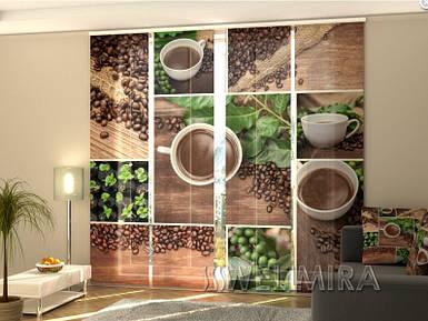 """Панельные фото шторы """"Зеленый кофе"""" 240 х 240 см"""